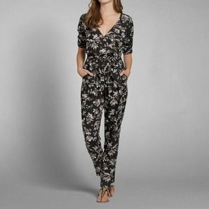 Abercrombie & Fitch Black Floral Printed Jumpsuit